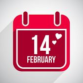 stock photo of february  - Valentines day flat calendar icon - JPG
