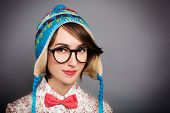 Portrait of Hipster Girl in Funny Winter Hat