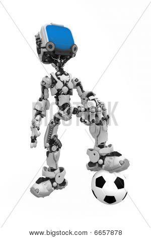 poster of Blue Screen Robot, Soccer Ball