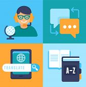 pic of interpreter  - VEctor flat trendy icons  - JPG
