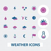weather, climate icons set, vector
