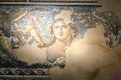 stock photo of mona lisa  - Fragments of mosaic floor in Tzippori National Park in Israel - JPG