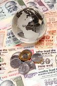 Glass Globe On Indian Currency