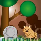 picture of hyenas  - a hyena and a hippo in a colored safari background - JPG