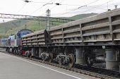 Railway freight train at the station. Irkutsk region