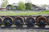 Spare wheel pair on rails at locomotive depot
