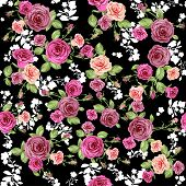 Roses pattern on black backdrop. Seamless background.