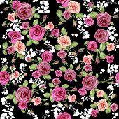 Roses pattern on black backdrop. Seamless background.