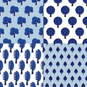 Seamless indigo blue retro tree illustration background collection set pattern set in vector