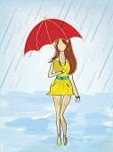 Stylish young fashionable girl under the umbrella, walking in the heavy rain, beautiful flyer or template design for Monsoon Season.