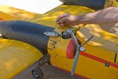 foto of hydroplanes  - Radio controlled Hydroplane been fixed on Guadiana riverside Badajoz Spain