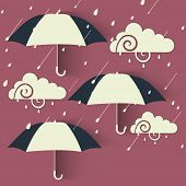 pic of rainy season  - Beautiful design for Rainy Season concept with open umbrellas and cloud on abstract background - JPG