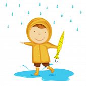picture of dancing rain  - Cute little child dancing in rains - JPG
