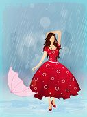 stock photo of dancing rain  - Pretty young girl holding the umbrella dancing in the rain - JPG