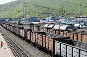 Railway freight trains at the station  Irkutsk region