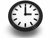 3D Round Clock Shows Three O'clock