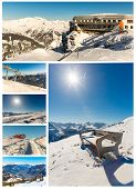 Collage Of Ski Resort Bad Gastein,cableway In Austria, Land Salzburg. Austrian Alps - Nature And Spo
