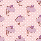 Seamless vector lavender pattern or tile background with white polka dots and big hand drawn cupcake
