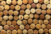 stock photo of assemblage  - background texture with different wine corks closeup - JPG
