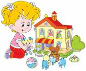 Girl with a doll and toy house