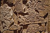 Mayan carvings on a wall, Mexico