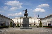 Polish presidential palace in Warsaw with statue of Prince Jozef Poniatowski