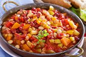 stock photo of stew  - Vegetable and beans stew in tomato sauce