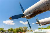 Samara, Russia - May 25, 2014: Turbines Of Turboprop Aircraft An-12 At An Abandoned Aerodrome. The A