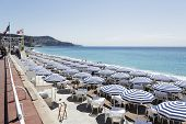 Umbrellas On The Ruhl Plage In Nice
