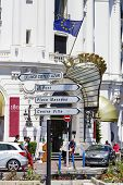 Road Signpost In Nice In France