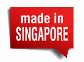 Made In Singapore Red  3D Realistic Speech Bubble Isolated On White Background