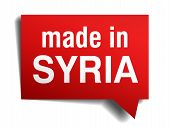Made In Syria Red  3D Realistic Speech Bubble Isolated On White Background
