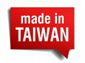 Made In Taiwan Red  3D Realistic Speech Bubble Isolated On White Background
