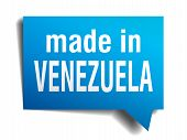 Made In Venezuela Blue 3D Realistic Speech Bubble Isolated On White Background