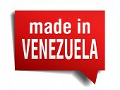 Made In Venezuela Red  3D Realistic Speech Bubble Isolated On White Background