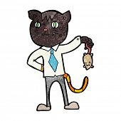 foto of dead mouse  - cartoon business cat with dead mouse - JPG