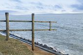 February 14 Storm Damage 2014, Wooden Fence Suspended Where Cliff Washed Away, Milford On Sea