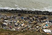February 14 Storm Damage 2014, Wooden Remains Of Smashed Beach Huts, Milford On Sea