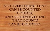 Not everything that can be counted counts, and not everything that counts can be counted - quote on wooden red oak background