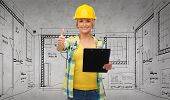 repair, construction and maintenance concept - smiling woman in helmet with clipboard showing thumbs up