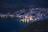 Marina of Monemvasia in night time, Greece.