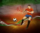 Abstract waves aroun soccer player on the national flag of Iran