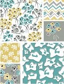 Spring Seamless Floral Vector Patterns. Use as fills or print off onto fabric to create unique items