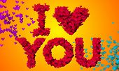 I love you Particles Heart Shape 3D orange background