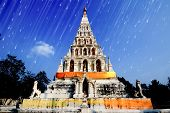 Vintage white old pagoda in Wat Chedi Liam, Triangle Pagoda, chiangmai thailand.