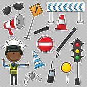 African-american Traffic Policeman