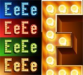 Ultimate realistic lamp board alphabet. Condensed style. Left and right options. Multicolored. Letter e
