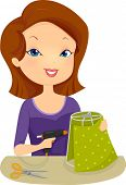 picture of lamp shade  - Illustration of a Woman Decorating a Lamp Shade - JPG