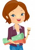 Illustration of a Girl Carrying Rolls of Wallpaper and a Paintbrush