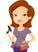 Illustration of a Girl Wearing a Utility Belt Holding a Glue Gun